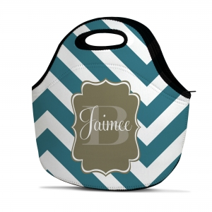 Chevron Slide Personalized Insulated Lunch Tote