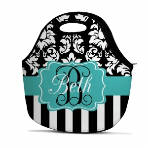Dandy Damask Stripe Personalized Insulated Lunch Tote