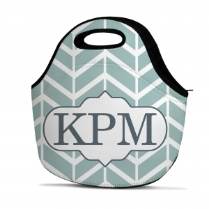 Herringbone Print Personalized Insulated Lunch Tote