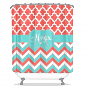 Moroccan Chevron Personalized Shower Curtain