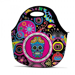 Sugar Skull Personalized Polka Dot Insulated Lunch Tote