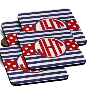 Stripes Monogrammed Coaster Set of 4