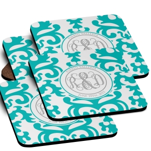 Wedding Damask Monogrammed Coaster Set