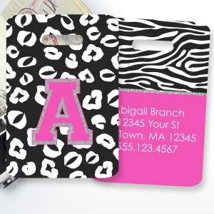 Cheetah Zebra Print Personalized Luggage Tag