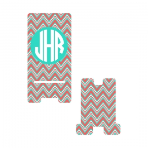 Personalized Coral Multi Chevron Phone Stand