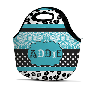 Cheetah Damask Dot Personalized Insulated Lunch Tote