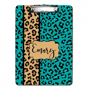 Cheetah Print Teal Personalized Clipboard