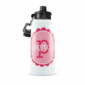 Scallop Circle Name Personalized Water Bottle