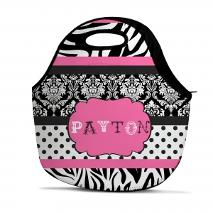 Zebra Damask Dot Personalized Insulated Lunch Tote