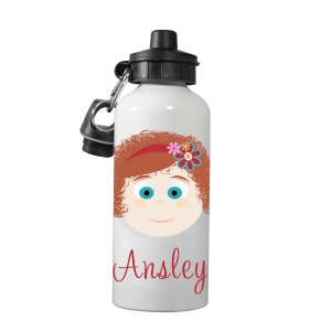 Personalized Girls Water Bottle-Curly Q