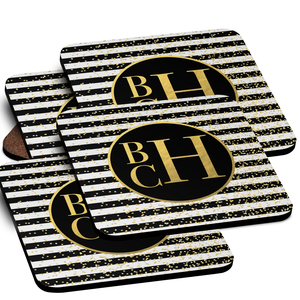 Glam Stripes Personalized Coaster Set of 4, Paper Coasters Set of 24