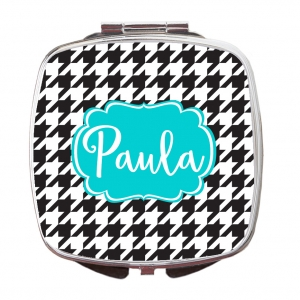 Houndstooth Print Compact Mirror