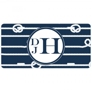 Nautical Navy Knot Personalized Car Tag - Decorative License Plate - Personalized Wall Art