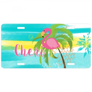 Pink Flamingo Personalized Car Tag - Decorative License Plate - Personalized Wall Art