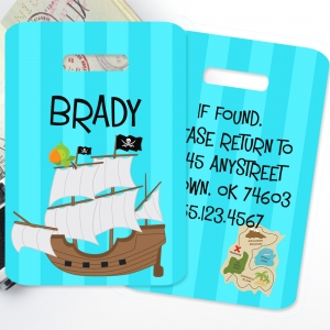 Pirate Ship Personalized Kids Bag Tag