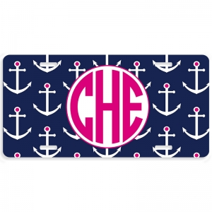 Preppy Anchors Personalized Car Tag - Decorative License Plate
