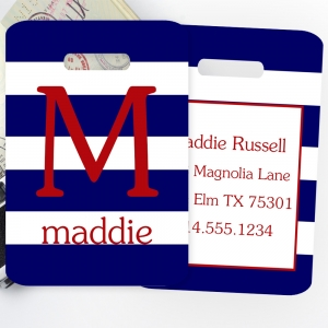 Rugby Stripe Personalized Luggage or Bag Tag