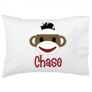 Sock Monkey Boy Kids Personalized Pillowcase
