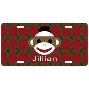 Sock Monkey Personalized Car Tag - Decorative License Plate - Personalized Wall Art
