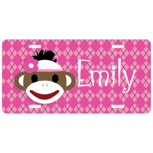 Sock Monkey Girl Personalized Car Tag - Decorative License Plate - Personalized Wall Art