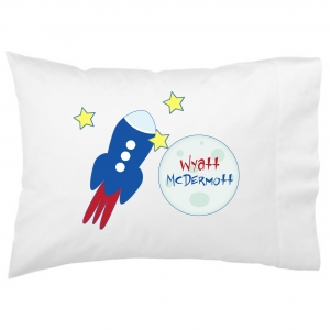 To The Moon Space Rocket Kids Personalized Pillowcase