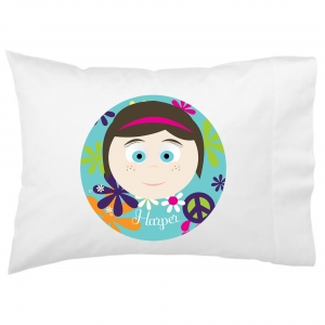 Personalized Girls Little Me Girl Pillowcase - Design Your Own Face Pillowcase Hippie Chick Background
