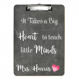 Big Heart Little Minds Teacher Personalized Clipboard