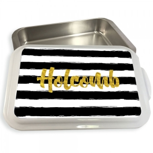 Painted Stripe  Pattern Cake or Casserole Pan