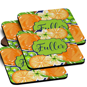 Orange Blossoms Monogrammed Coaster Set