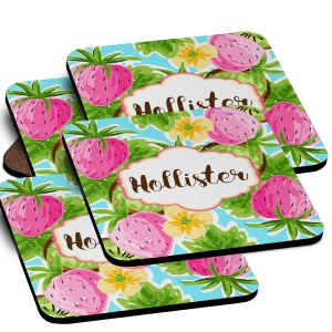 Strawberry Kiwi  Monogrammed Coaster Set