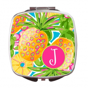 Preppy Pineapple Custom Personalized Monogrammed Compact Mirror