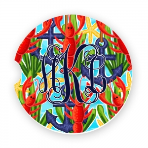 Anchors and Lobster Print Personalized Monogrammed Car Coaster, Custom Car Coasters