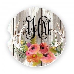 Antlers Brown Wash Wood Watercolor Flowers Personalized Car Coasters