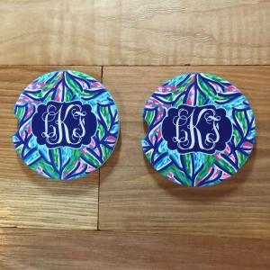 Navy Coral Car Coasters