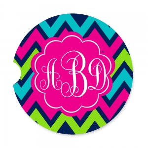 Lime Navy Pink Chevron Personalized Monogrammed Car Coaster, Custom Car Coasters