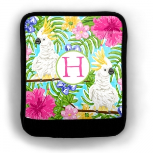 Cockatoo Print Luggage Wrap Flat View