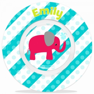 Elephant Girls Personalized Microwave Safe Bowl