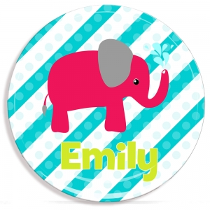 Elephant Girls Personalized Microwave Safe Plate