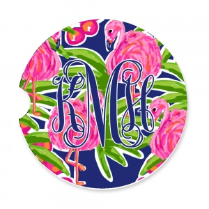 Fancy Flamingos Personalized Monogrammed Car Coaster