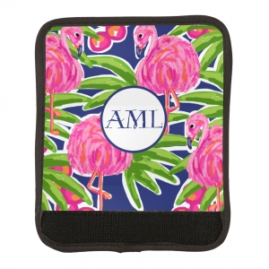 Fancy Flamingos Print Luggage Wrap Flat View