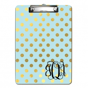 Faux Gold Foil Polka Dots Personalized Monogrammed Clipboard