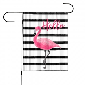 Flamingo Stripes Personalized Garden Flag