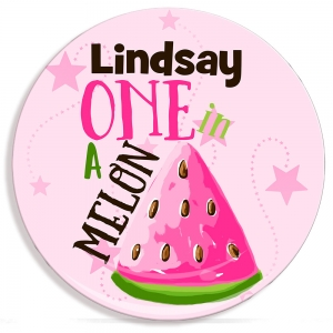 One In A Melon Personalized Microwave Safe Plate, Kids Personalized Plates