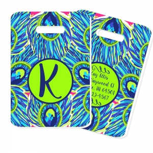 Peacock Feathers Print Personalized Luggage Tag