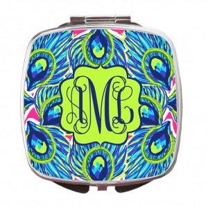 Peacock Feathers Print Custom Personalized Monogrammed Compact Mirror
