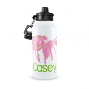 Preppy Pink Fish Personalized Water Bottle, Preppy Fun Girls Water Bottles, Aluminum Water Bottles