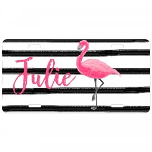 Flamingo Stripes Personalized Car Tag - Decorative License Plate, Monogrammed License Plate