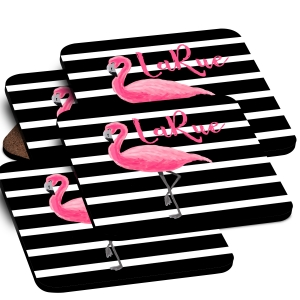 Pink Flamingo Stripes Custom Monogrammed Coaster Set
