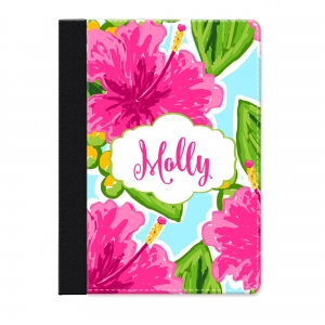 Pink Hibiscus Personalized iPad Mini Folio Case