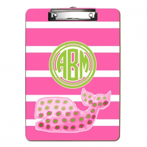 Pink Polka Dot WhalePersonalized Clipboard
